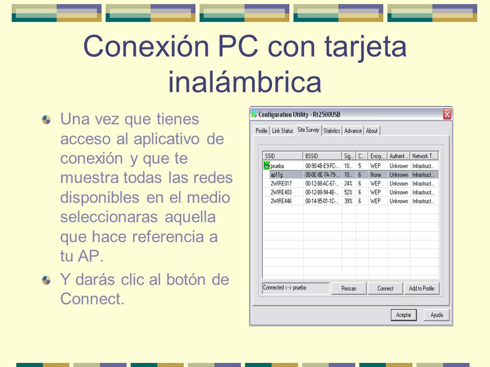 Conexión PC con tarjeta inalámbrica