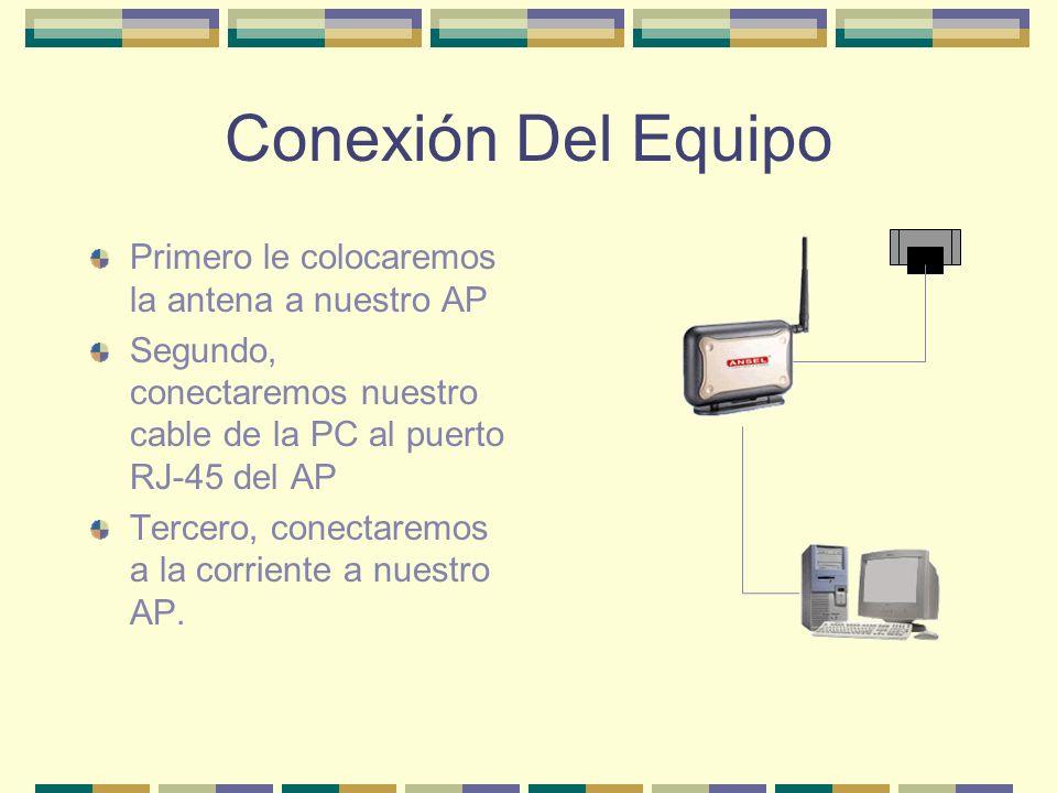 Conexión Del Equipo Primero le colocaremos la antena a nuestro AP