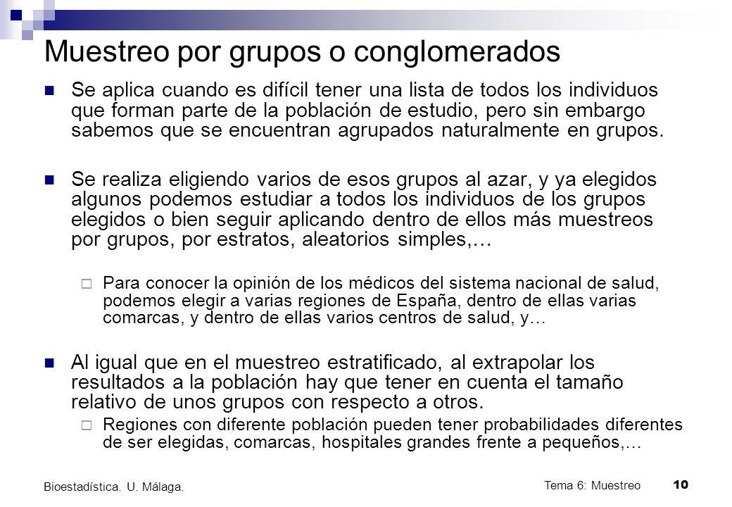 Muestreo por grupos o conglomerados