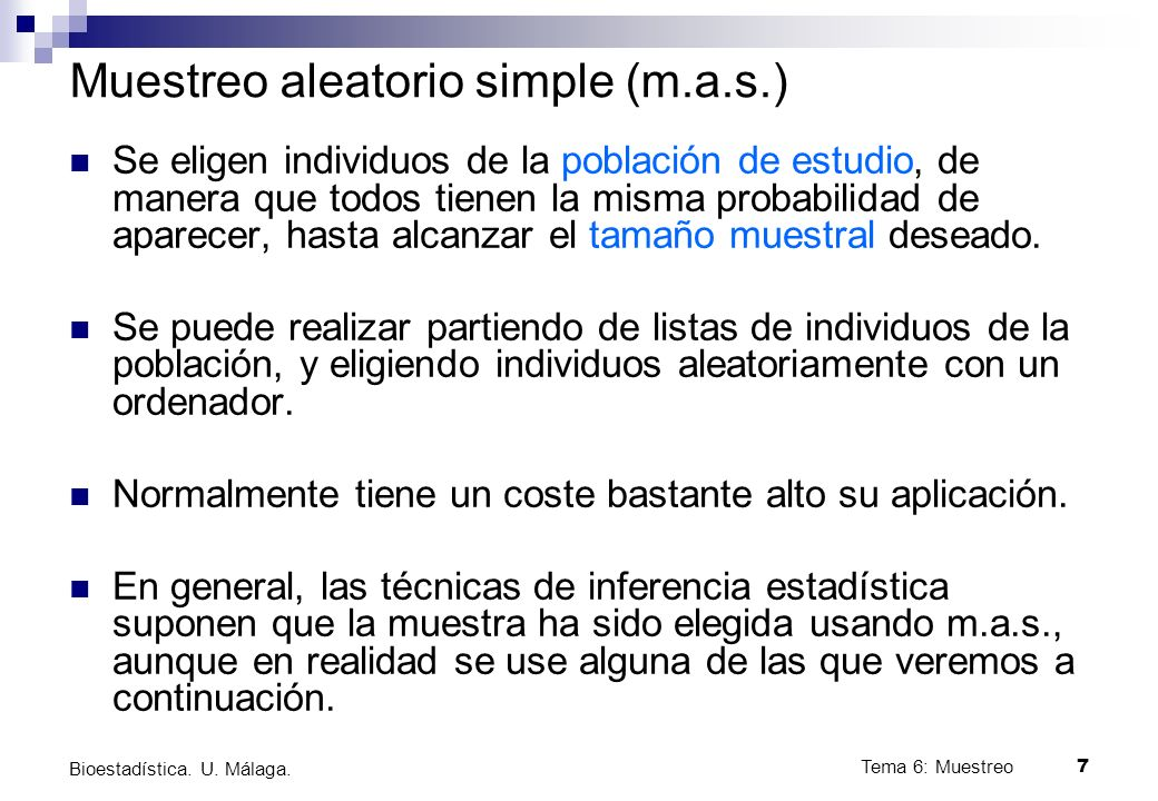 Muestreo aleatorio simple (m.a.s.)