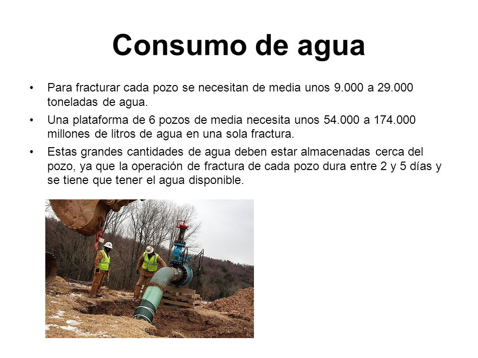 Consumo de agua Para fracturar cada pozo se necesitan de media unos 9.000 a 29.000 toneladas de agua.