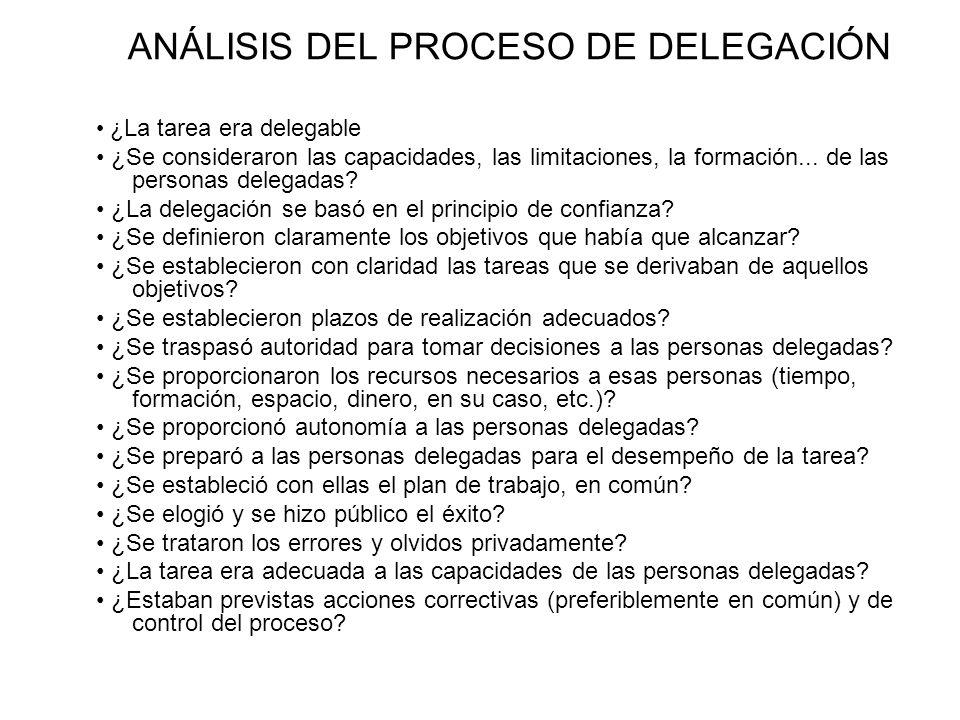 ANÁLISIS DEL PROCESO DE DELEGACIÓN