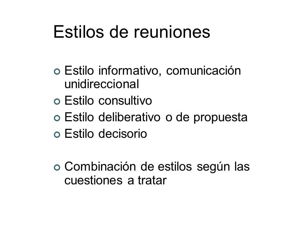 Estilos de reuniones Estilo informativo, comunicación unidireccional