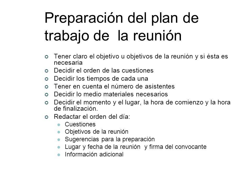 Preparación del plan de trabajo de la reunión