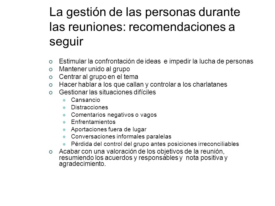 La gestión de las personas durante las reuniones: recomendaciones a seguir