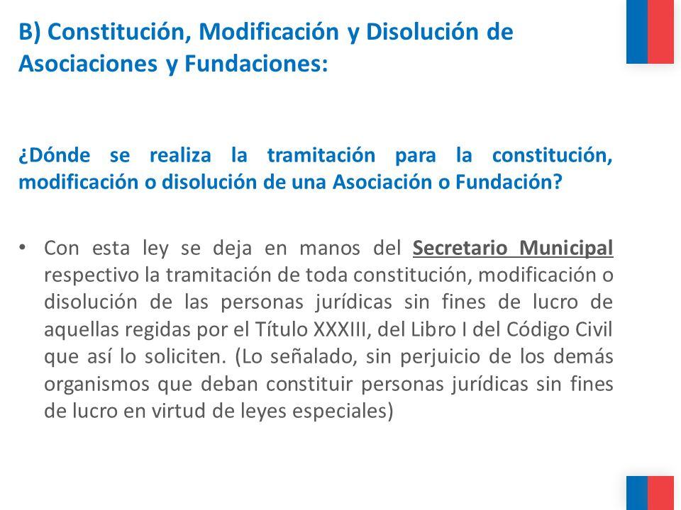 B) Constitución, Modificación y Disolución de Asociaciones y Fundaciones: