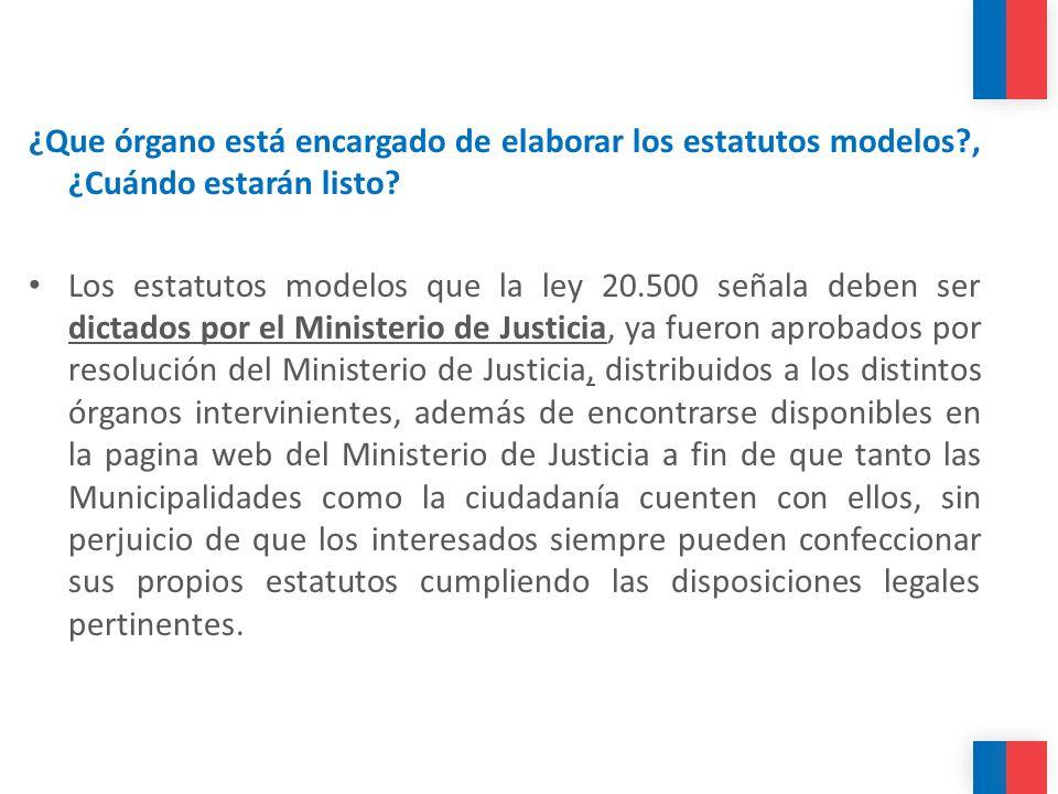¿Que órgano está encargado de elaborar los estatutos modelos