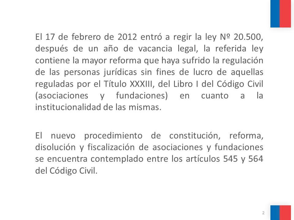 El 17 de febrero de 2012 entró a regir la ley Nº 20