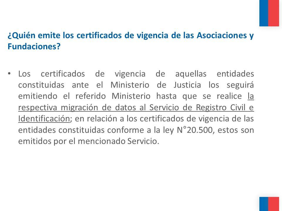 ¿Quién emite los certificados de vigencia de las Asociaciones y Fundaciones