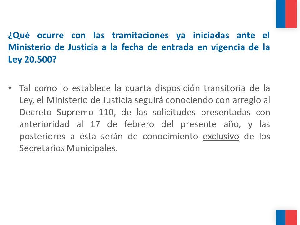 ¿Qué ocurre con las tramitaciones ya iniciadas ante el Ministerio de Justicia a la fecha de entrada en vigencia de la Ley 20.500