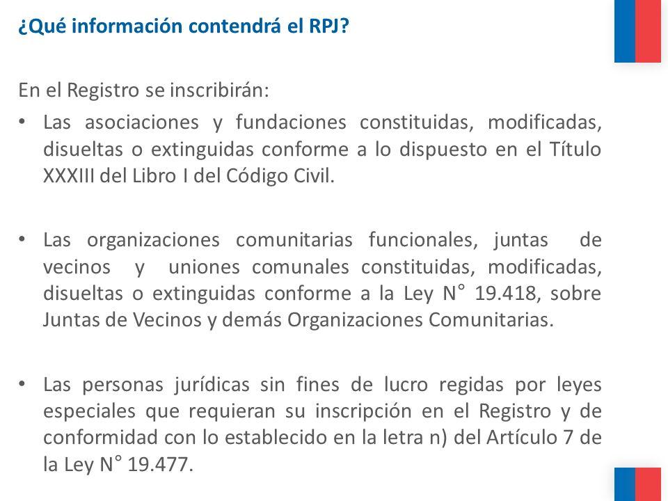 ¿Qué información contendrá el RPJ