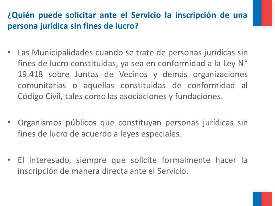 ¿Quién puede solicitar ante el Servicio la inscripción de una persona jurídica sin fines de lucro