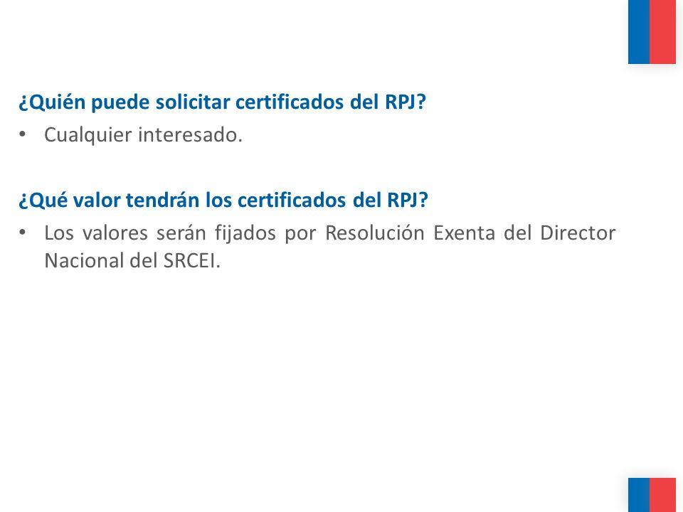 ¿Quién puede solicitar certificados del RPJ