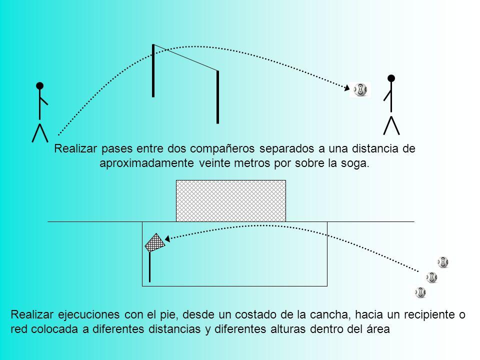 Realizar pases entre dos compañeros separados a una distancia de aproximadamente veinte metros por sobre la soga.