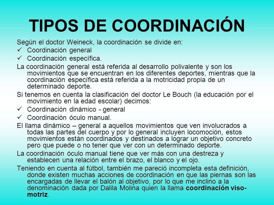 TIPOS DE COORDINACIÓNSegún el doctor Weineck, la coordinación se divide en: Coordinación general. Coordinación específica.