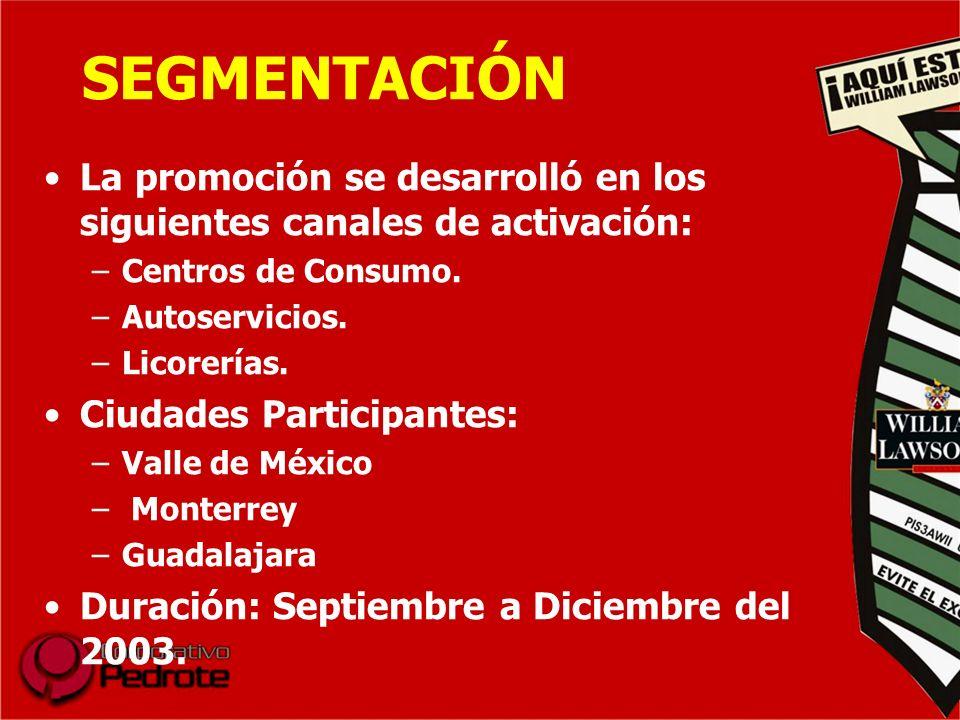 SEGMENTACIÓN La promoción se desarrolló en los siguientes canales de activación: Centros de Consumo.