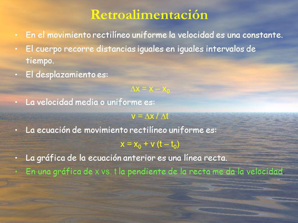 Retroalimentación En el movimiento rectilíneo uniforme la velocidad es una constante.