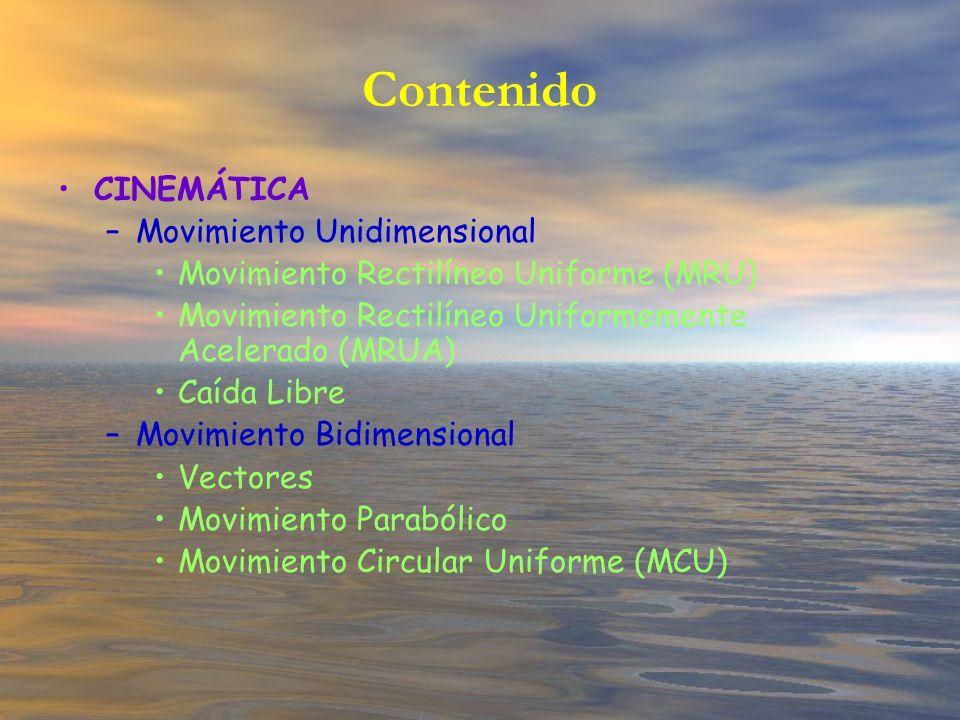 Contenido CINEMÁTICA Movimiento Unidimensional