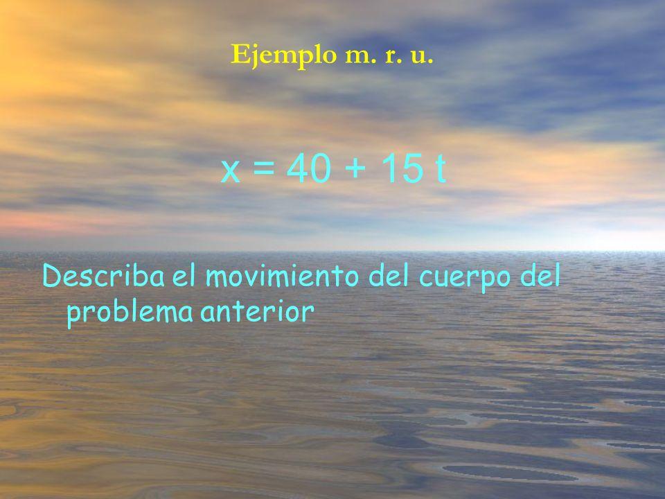 Ejemplo m. r. u. x = 40 + 15 t Describa el movimiento del cuerpo del problema anterior