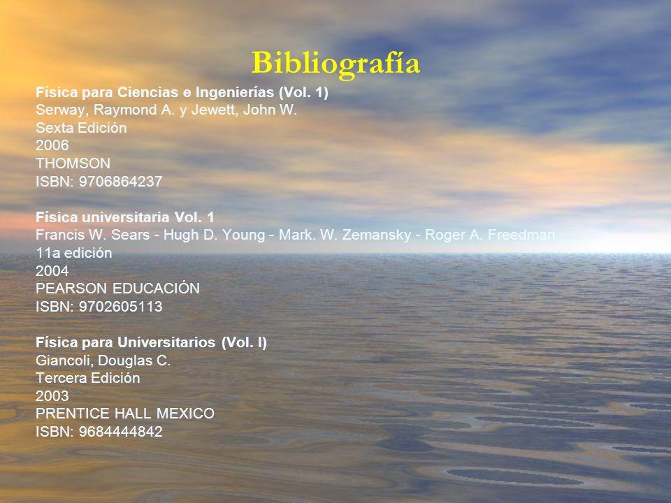 Bibliografía Física para Ciencias e Ingenierías (Vol. 1)