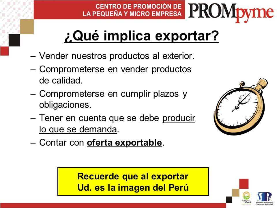 Recuerde que al exportar