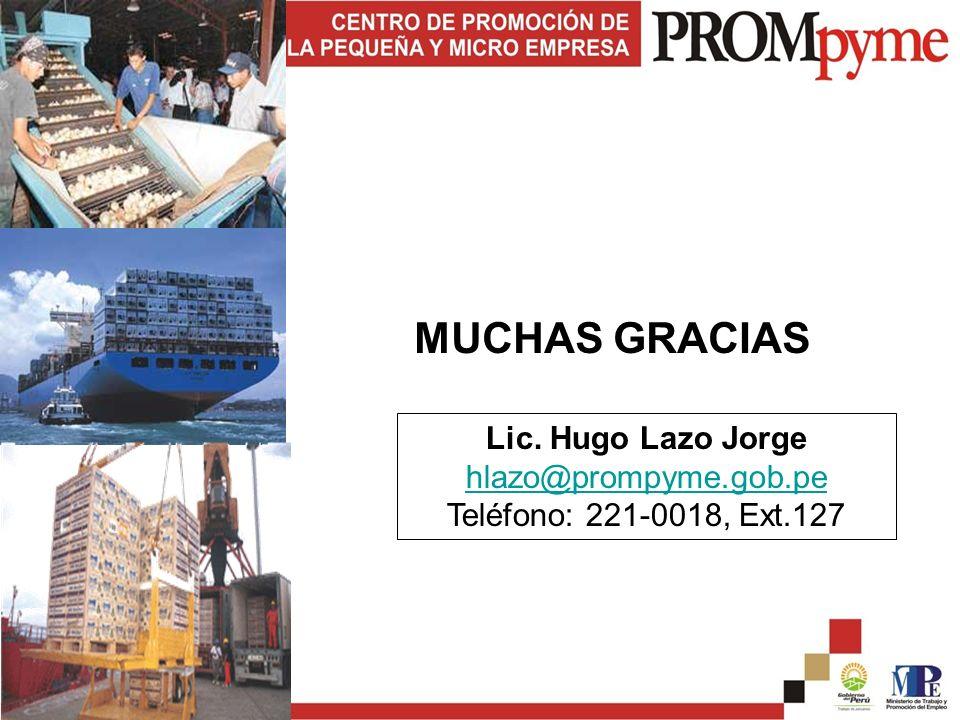 MUCHAS GRACIAS Lic. Hugo Lazo Jorge hlazo@prompyme.gob.pe