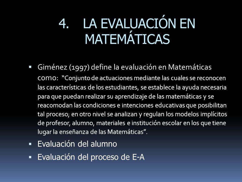 4. LA EVALUACIÓN EN MATEMÁTICAS