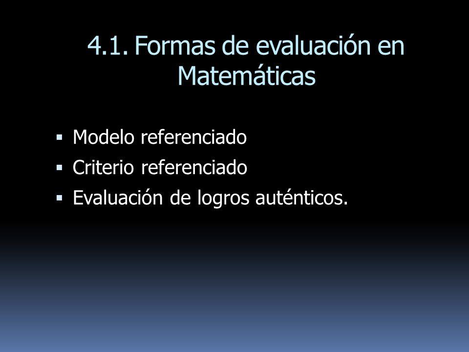 4.1. Formas de evaluación en Matemáticas
