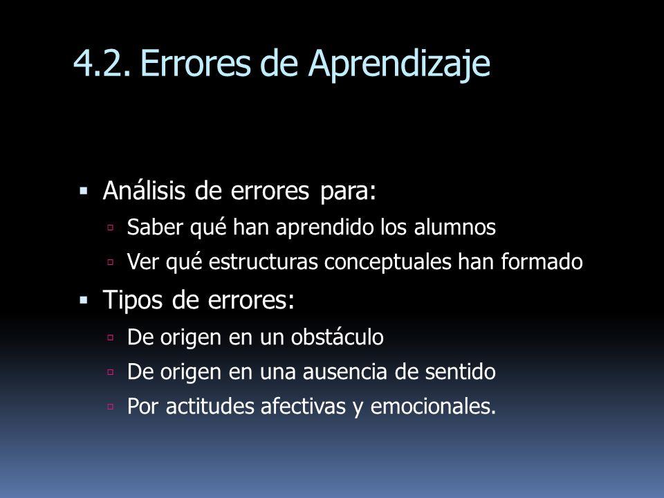 4.2. Errores de Aprendizaje