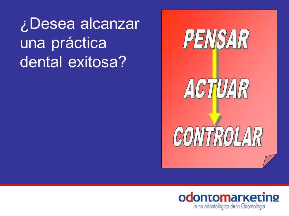 ¿Desea alcanzar una práctica dental exitosa PENSAR ACTUAR CONTROLAR