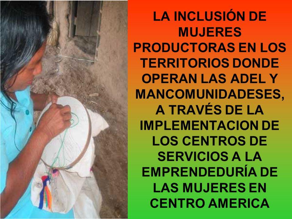 LA INCLUSIÓN DE MUJERES PRODUCTORAS EN LOS TERRITORIOS DONDE OPERAN LAS ADEL Y MANCOMUNIDADESES, A TRAVÉS DE LA IMPLEMENTACION DE LOS CENTROS DE SERVICIOS A LA EMPRENDEDURÍA DE LAS MUJERES EN CENTRO AMERICA