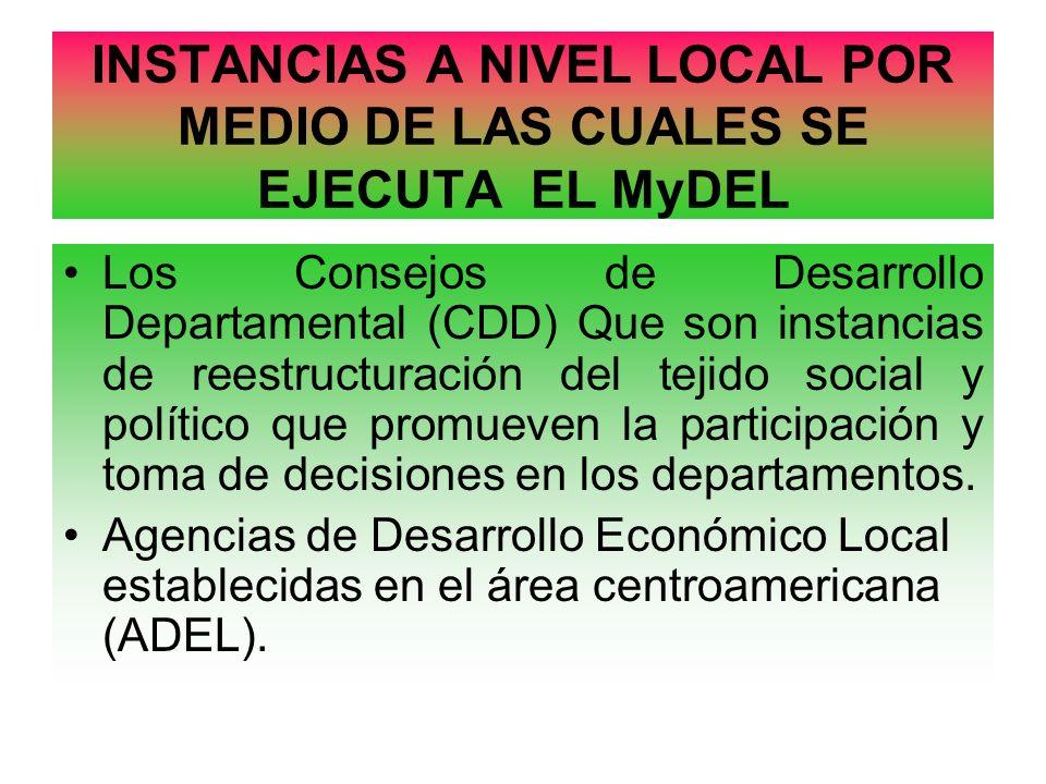 INSTANCIAS A NIVEL LOCAL POR MEDIO DE LAS CUALES SE EJECUTA EL MyDEL