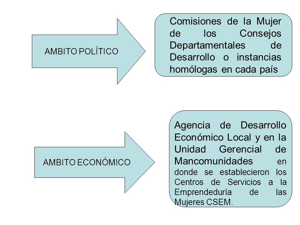 Comisiones de la Mujer de los Consejos Departamentales de Desarrollo o instancias homólogas en cada país