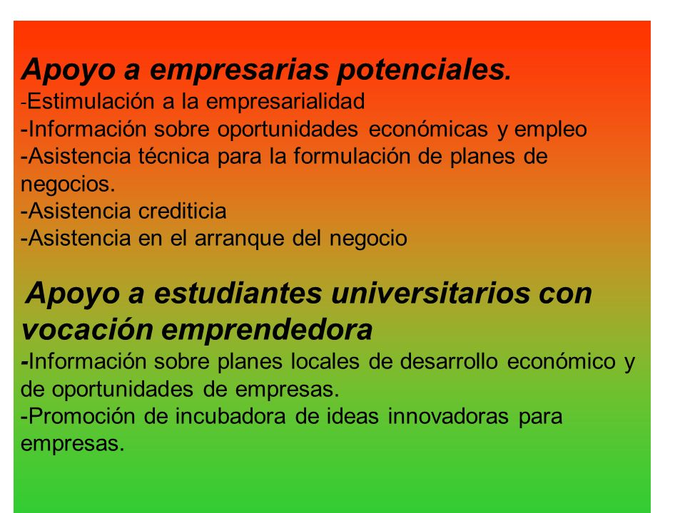 Apoyo a empresarias potenciales