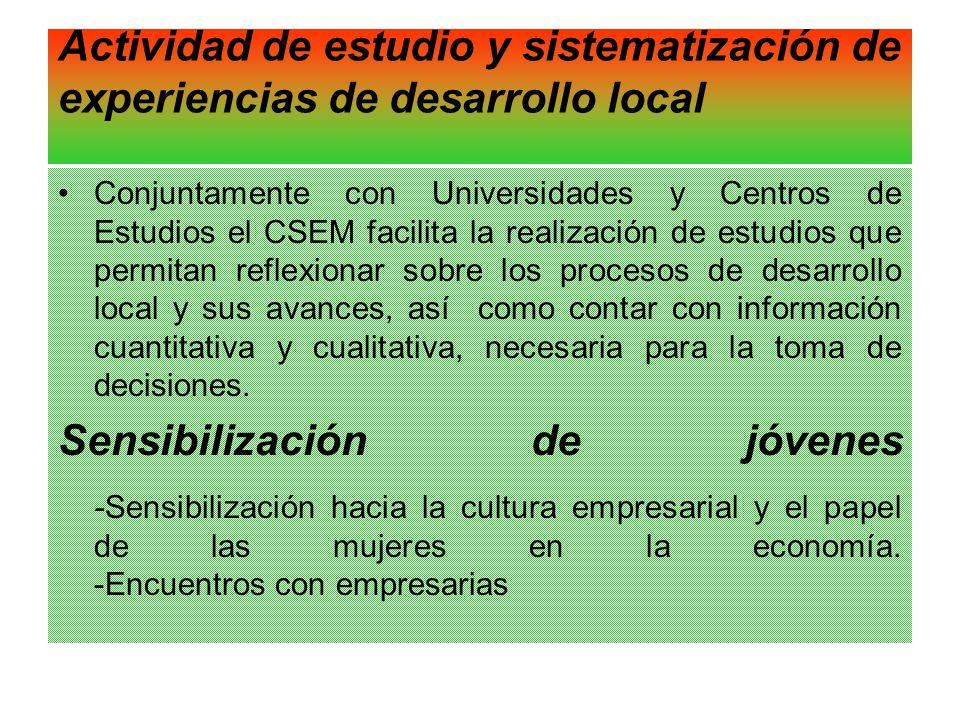 Actividad de estudio y sistematización de experiencias de desarrollo local