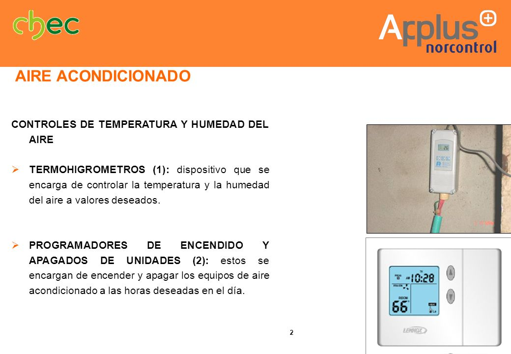 AIRE ACONDICIONADO CONTROLES DE TEMPERATURA Y HUMEDAD DEL AIRE