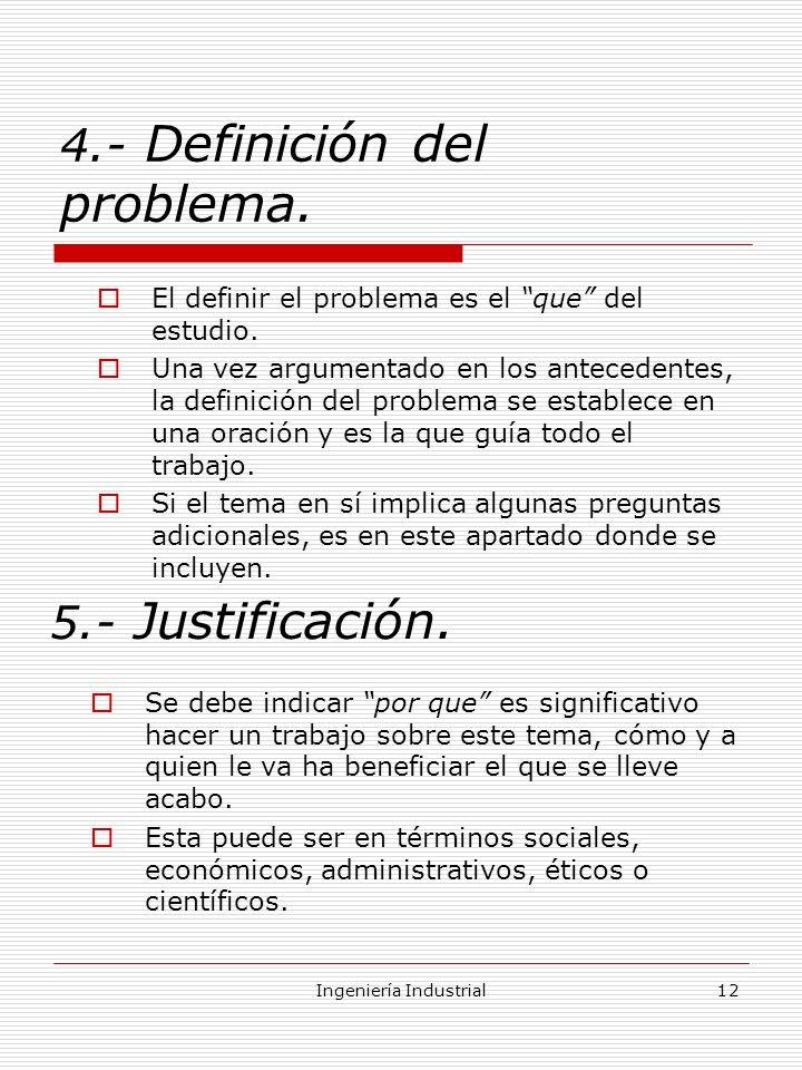 4.- Definición del problema.