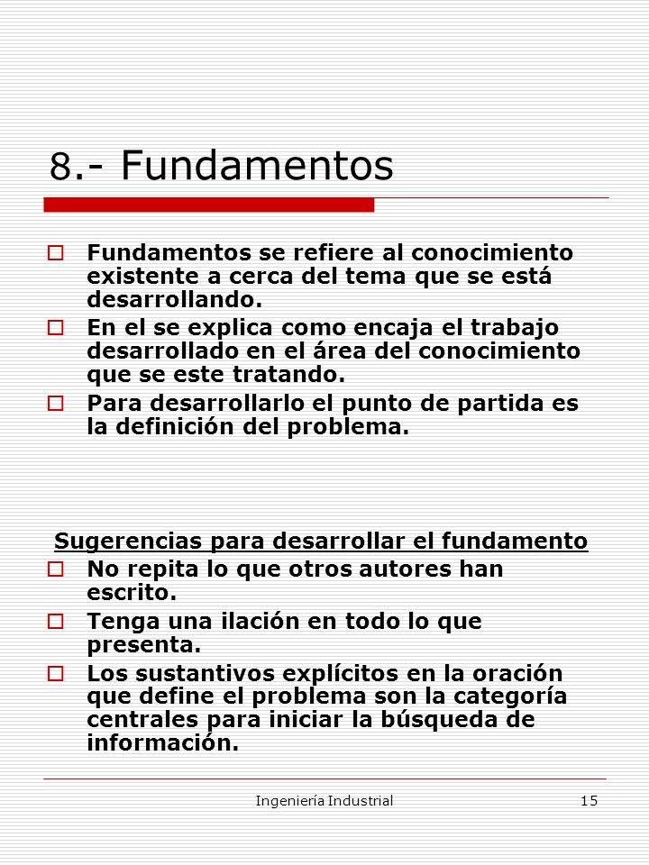 Sugerencias para desarrollar el fundamento