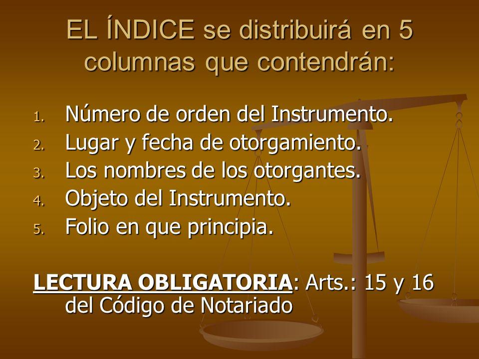 EL ÍNDICE se distribuirá en 5 columnas que contendrán: