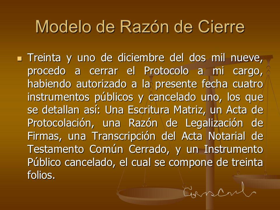Modelo de Razón de Cierre