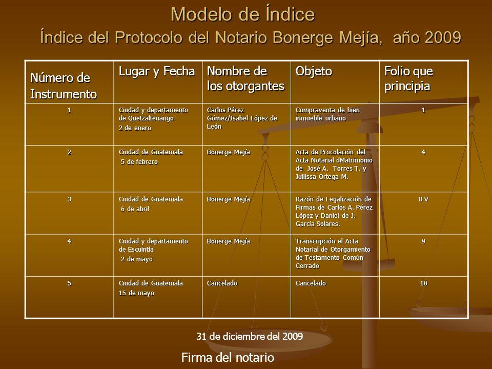 Índice del Protocolo del Notario Bonerge Mejía, año 2009
