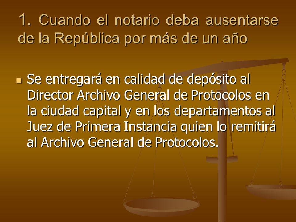 1. Cuando el notario deba ausentarse de la República por más de un año