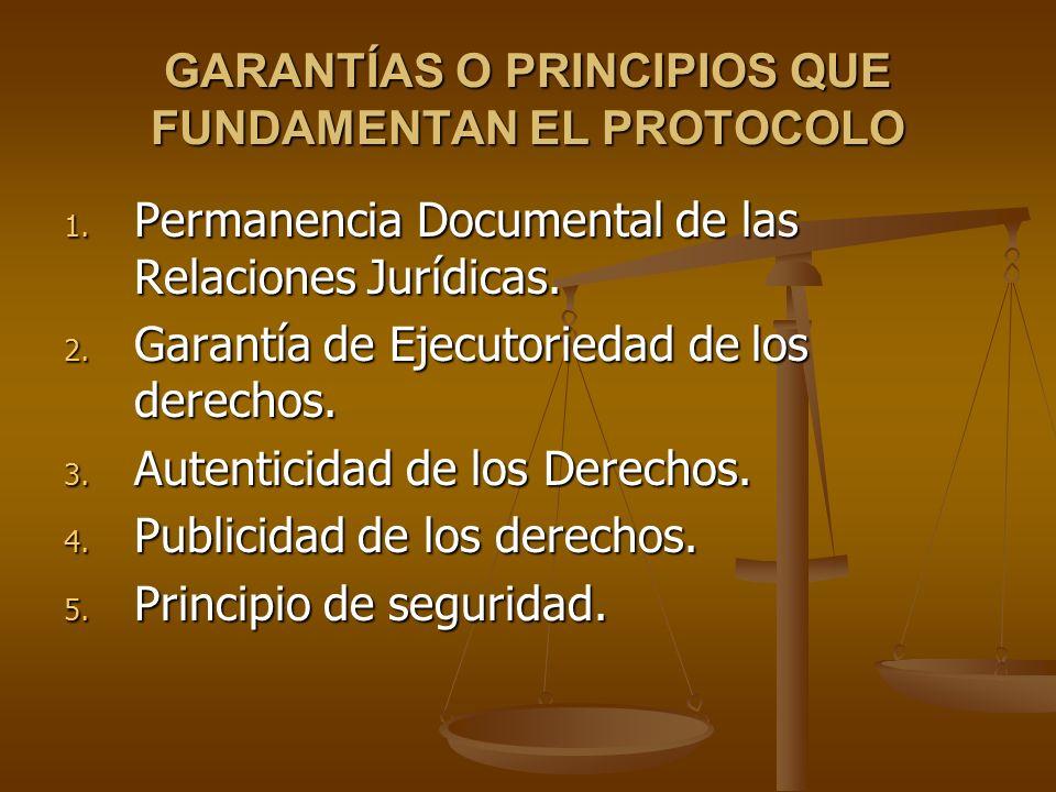 GARANTÍAS O PRINCIPIOS QUE FUNDAMENTAN EL PROTOCOLO