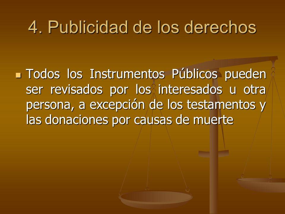 4. Publicidad de los derechos