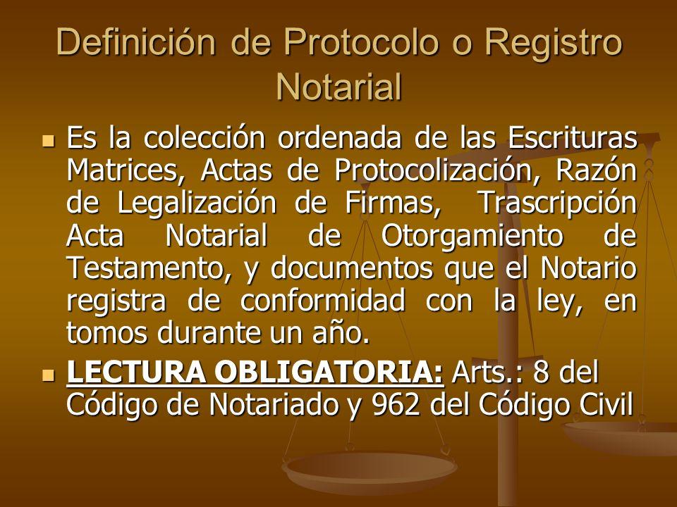 Definición de Protocolo o Registro Notarial
