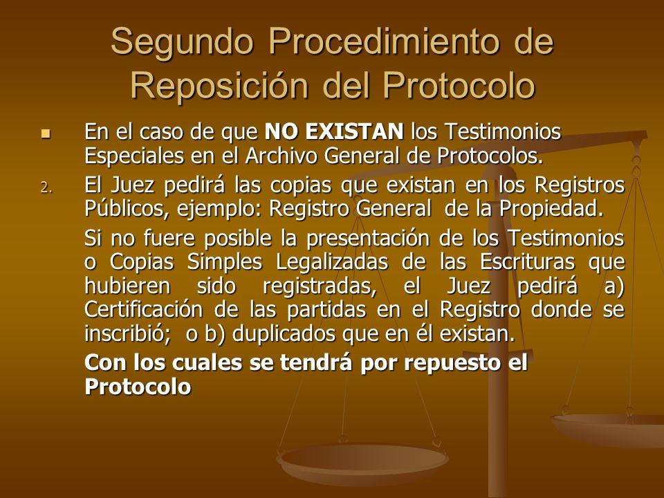 Segundo Procedimiento de Reposición del Protocolo