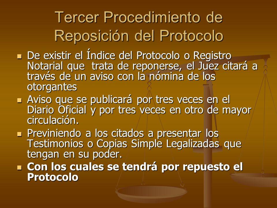 Tercer Procedimiento de Reposición del Protocolo