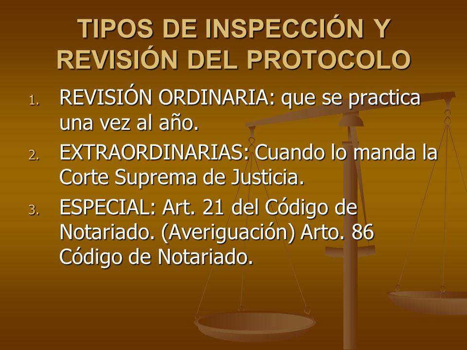 TIPOS DE INSPECCIÓN Y REVISIÓN DEL PROTOCOLO