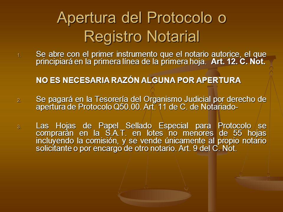 Apertura del Protocolo o Registro Notarial