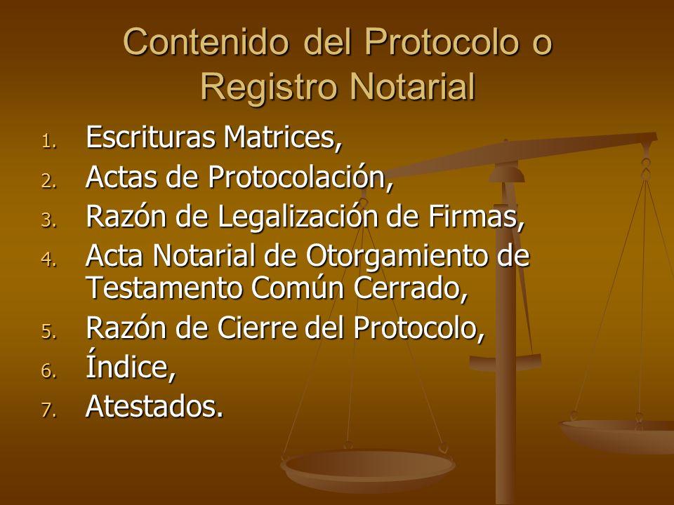 Contenido del Protocolo o Registro Notarial